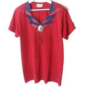 Joanie W Vintage Red Concho Studded Tee Size M